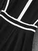 Black Half Sleeve Cotton-blend Color-block Mini Dress