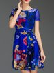 Blue Short Sleeve Silk Printed Vintage Mini Dress