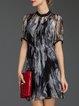 Black Casual Silk H-line Shirt Dress