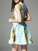 Blue Sleeveless Printed Polyester Floral Mini Dress