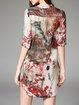 Vintage Asymmetric H-line Half Sleeve Mini Dress