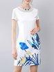 White Short Sleeve Sheath Mini Dress