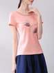 Pink Embroidered Casual Spandex T-Shirt