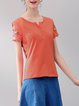Orange H-line Embroidered Short Sleeve T-Shirt