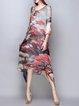 Multicolor Floral Floral-print V Neck 3/4 Sleeve Midi Dress