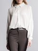 Beige Polyester Plain Long Sleeve Blouse