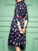 Bird Printed Cotton Midi Dress with Belt