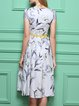 Printed Cotton Midi Dress with Belt