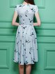 Blue Pockets Polyester A-line Casual Midi Dress