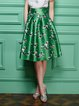 Green Floral-print Big Hem Midi Skirt