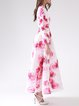 Pink Printed Crew Neck Polyester Long Sleeve Maxi Dress