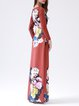 Orange Long Sleeve Polyester Maxi Dress