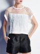 White Paneled Plain Short Sleeve Cropped Top