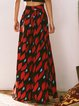 Red Beach Printed Wide Leg Pants