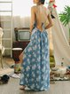 Blue Beach Chiffon Floral Maxi Dress