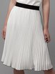 White A-line Casual Midi Skirt