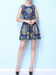 Blue Sleeveless Floral-print Mini Dress