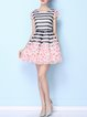 Short Sleeve Stripes Girly Crew Neck Mini Dress