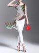 Multicolor Animal Print Asymmetrical Half Sleeve Tunic