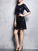 Royal Blue Glitter-finished Half Sleeve Floral Mini Dress