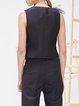 Black Plain Work Appliqued Polyester Vest
