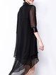 Half Sleeve Asymmetrical Casual Chiffon Midi Dress