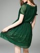 Green Floral Silk Short Sleeve Asymmetric Mini Dress