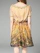Multicolor Short Sleeve Silk Floral Printed Mini Dress