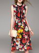 Crew Neck Vintage Silk Floral Sleeveless Midi Dress
