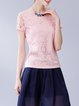 Pink Floral Casual Devore T-Shirt