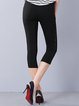 Black Casual Pierced H-line Plain Skinny Leg Pants