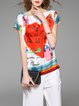 Multicolor H-line Casual Printed Silk Blouse