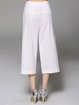 White Plain Casual Cotton Wide Leg Pants