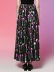 Multicolor A-line Sweet Pleated Maxi Skirt