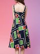 Multicolor A-line Cotton-blend Sweet Midi Dress