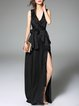 Black Plain Evening Maxi Dress