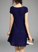 Dark Blue Short Sleeve Plain Mini Dress