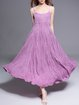 Purple Cotton Plain Spaghetti Swing Midi Dress