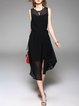 Black Crew Neck Sleeveless Slit Plain Midi Dress