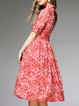 Red Casual Floral Silk A-line Midi Dress