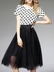 Black Short Sleeve Crew Neck Polka Dots Two Piece Midi Dress