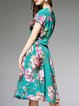 Printed Vintage Short Sleeve Silk Crew Neck Midi Dress