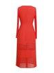 Red Polyester Long Sleeve Paneled Sheath Midi Dress
