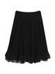 Black A-line Chiffon Pleated Midi Skirt