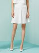 White Polyester Plain Ruffled Midi Skirt