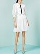 White Polyester Plain Ruffled Midi Skirt