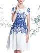 Vintage Chiffon Short Sleeve Midi Dress