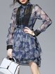 Navy Blue Crew Neck Girly Paneled Floral Mini Dress