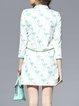 White 3/4 Sleeve Floral-print Mini Dress