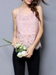 Pink Guipure lace Spaghetti Tanks And Cami